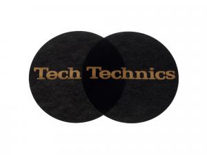 TECHNICS SLIPMAT BLACK/GOLD LOGO (Pair)