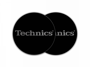 TECHNICS SLIPMAT BLACK/SILVER LOGO (Pair)